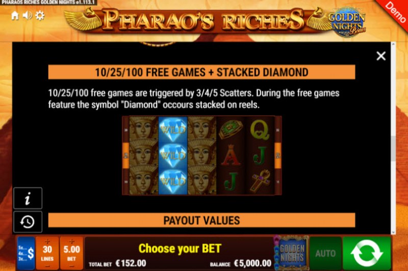Pharao's Riches Golden Nights Bonus :: Free Spins Rules