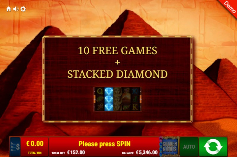 Pharao's Riches Golden Nights Bonus :: 10 Free Spins Awarded