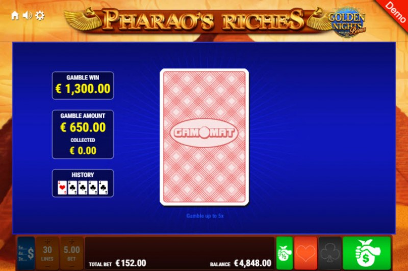 Pharao's Riches Golden Nights Bonus :: Red or Black Gamble Feature