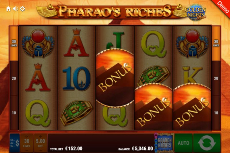 Pharao's Riches Golden Nights Bonus :: Scatter symbols triggers the free spins feature