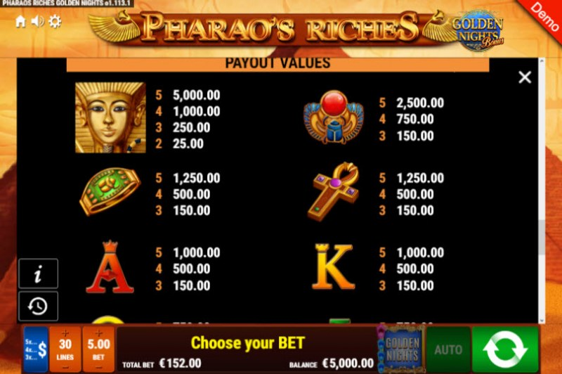 Pharao's Riches Golden Nights Bonus :: Paytable - High Value Symbols