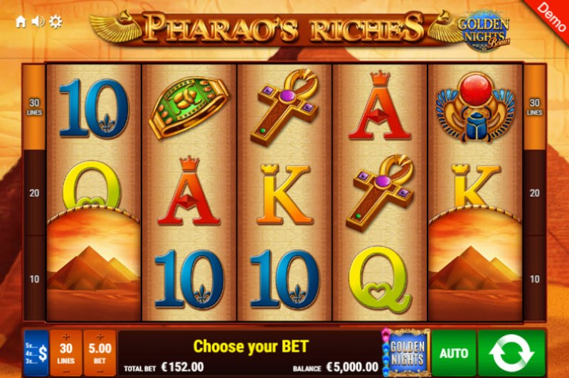 Pharao's Riches Golden Nights Bonus :: Main Game Board