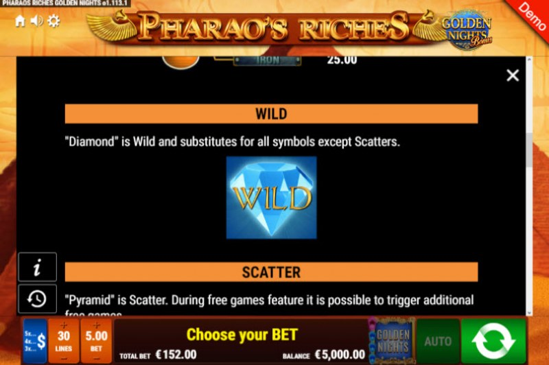 Pharao's Riches Golden Nights Bonus :: Wild Symbols Rules
