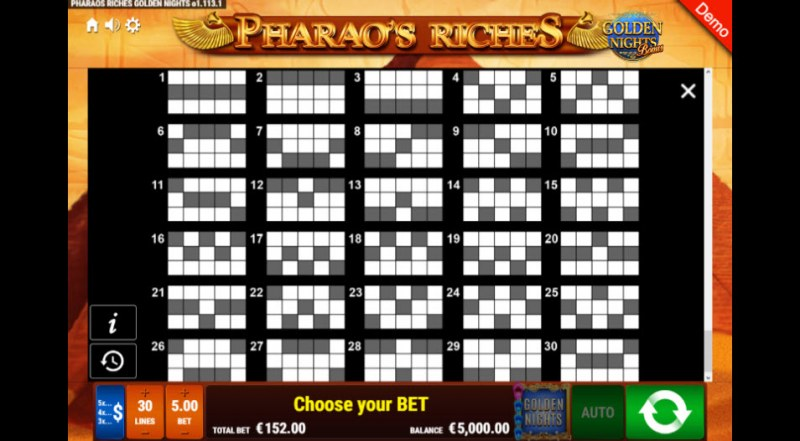 Pharao's Riches Golden Nights Bonus :: Paylines 1-30