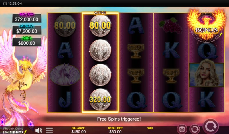 Phoenix Coins :: Scatter symbols triggers the free spins bonus feature