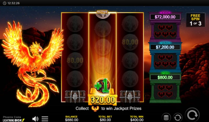 Phoenix Coins :: Free Spins Game Board