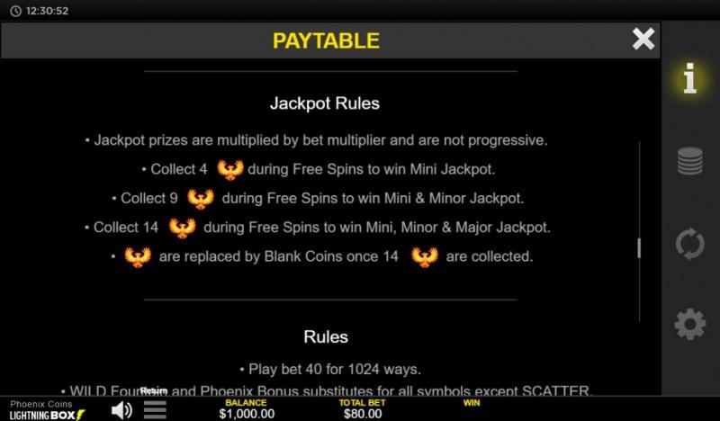 Phoenix Coins :: Jackpot Rules