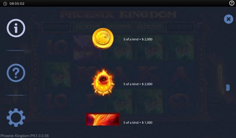 Phoenix Kingdom :: Paytable
