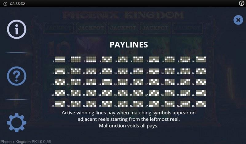 Phoenix Kingdom :: Paylines 1-50