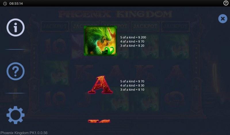 Phoenix Kingdom :: Paytable - Medium Value Symbols