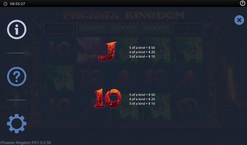 Phoenix Kingdom :: Paytable - Low Value Symbols