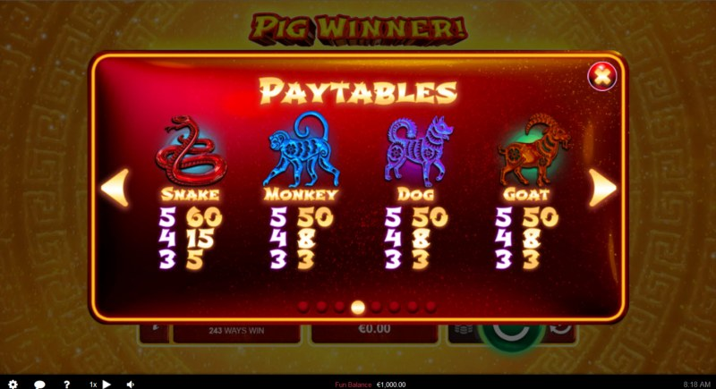 Pig Winner :: Paytable - Low Value Symbols