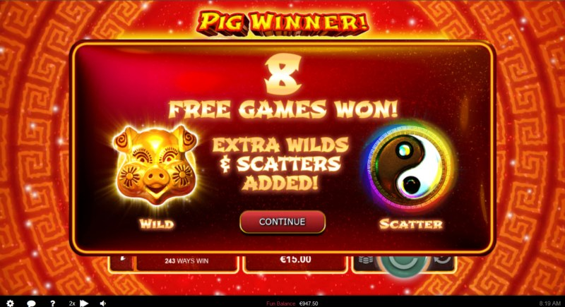 Pig Winner :: 8 free spins awarded