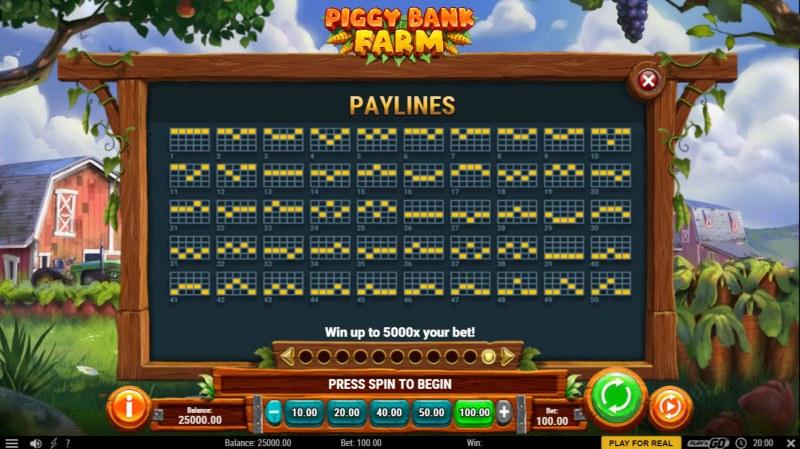 Piggy Bank Farm :: Paylines 1-50
