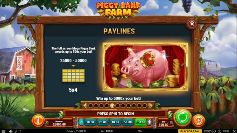 Piggy Bank Farm :: Paylines