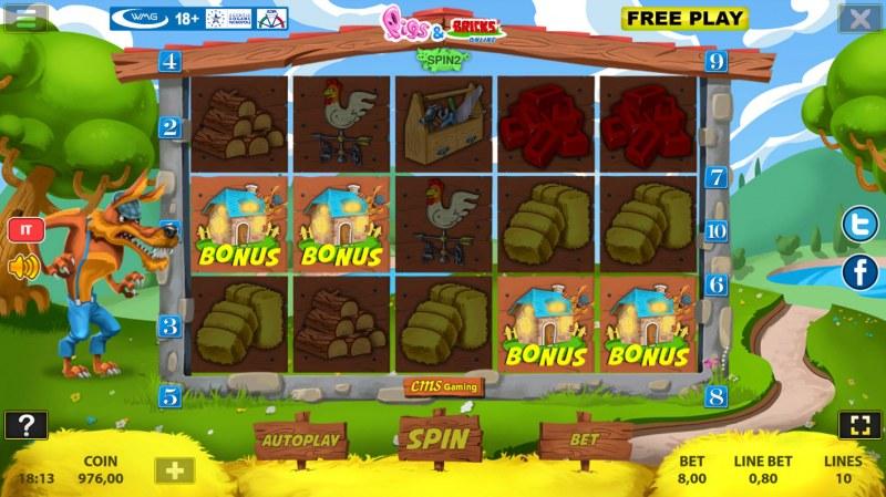 Pigs & Bricks :: Scatter symbols triggers bonus feature