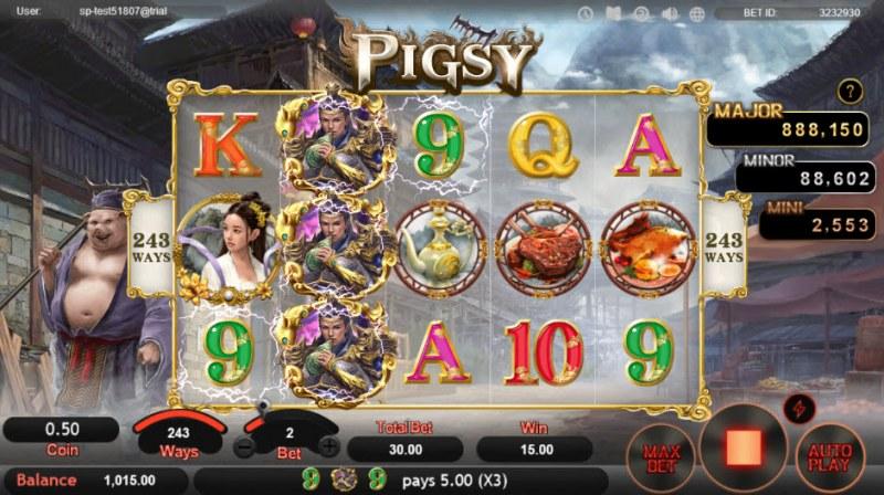 Pigsy :: Three of a kind win
