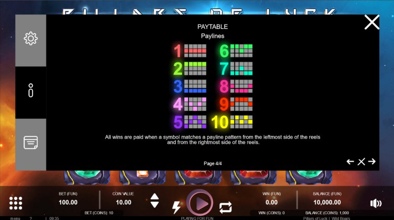 Pillars of Luck :: Paylines 1-10