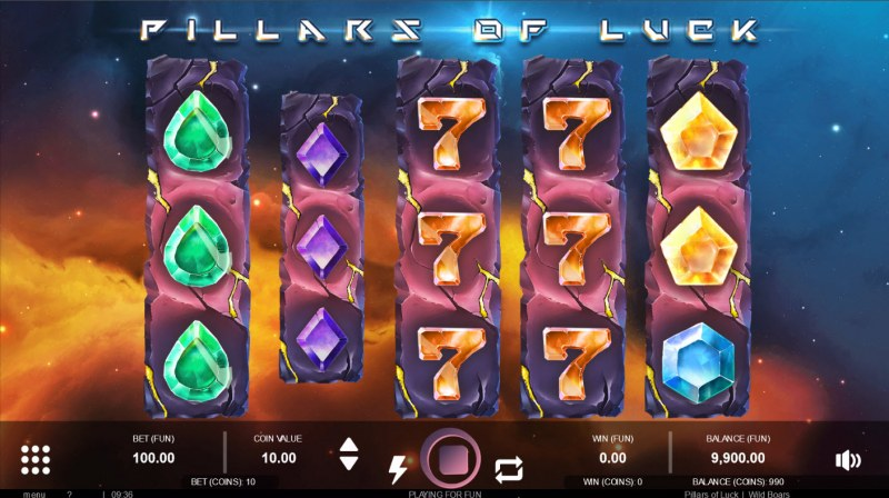 Pillars of Luck :: Stacked symbols activated a random wild reel