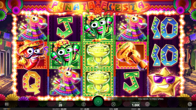 Pinata Fiesta :: Scatter symbols triggers the free spins feature