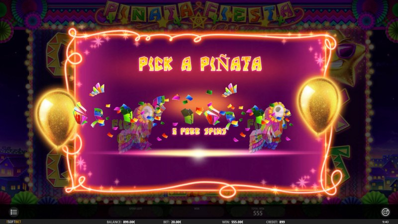 Pinata Fiesta :: Pick a pinata at the end of the free spins feature for a chance to win extra free spins