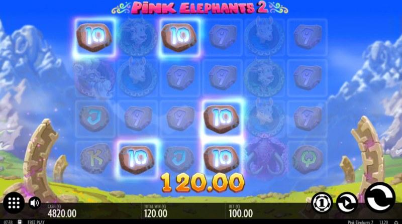 Pink Elephants 2 :: A four of a kind Win