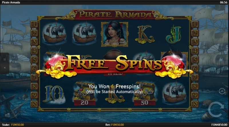 Pirate Armada :: 6 free spins awarded