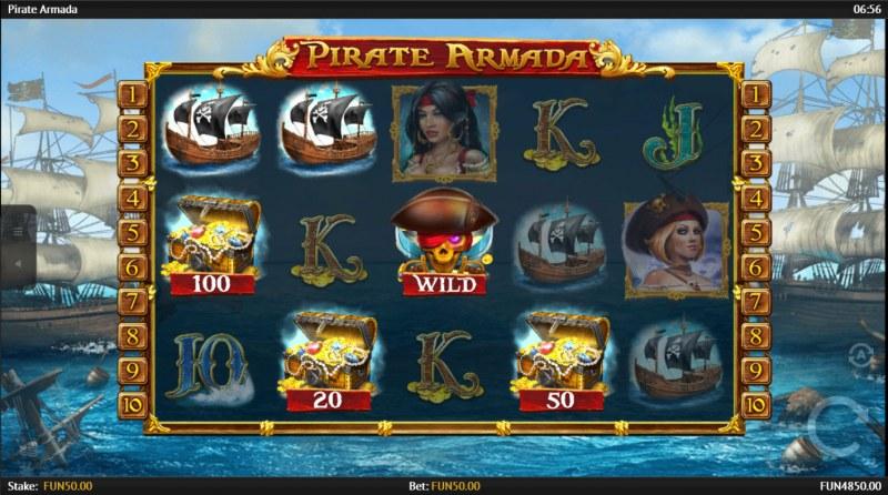 Pirate Armada :: Scatter symbols triggers the free spins bonus feature