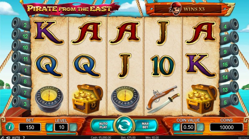 Play slots at Casinia: Casinia featuring the Video Slots Pirate from the East with a maximum payout of $180,000