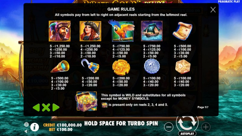 Pirate Gold Deluxe :: Paytable