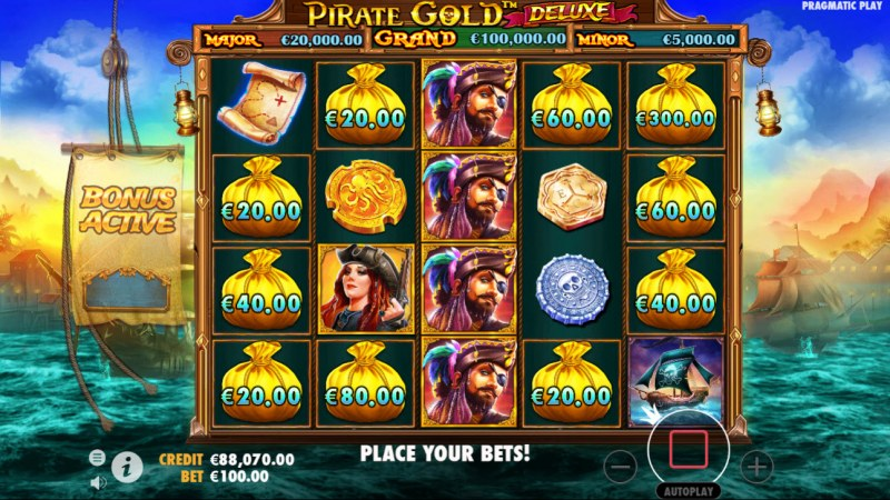Pirate Gold Deluxe :: Bonus game triggered by 8 or more money bag symbols
