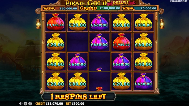 Pirate Gold Deluxe :: Land additional money bag symbols to win prizes and extra respins