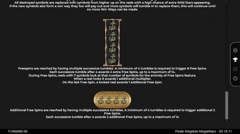 Pirate Kingdom Megaways :: Free Spins Rules