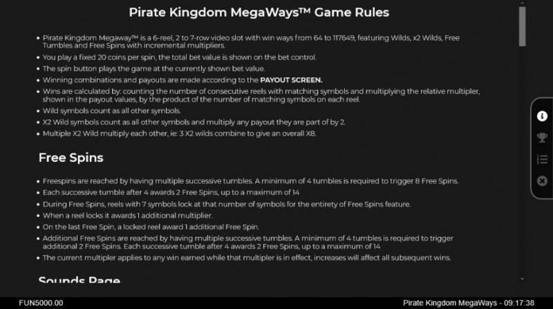 Pirate Kingdom Megaways :: General Game Rules