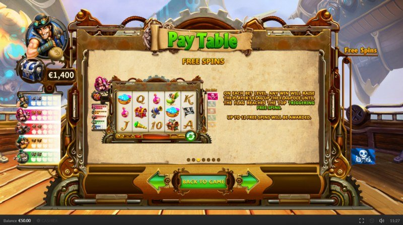 Pirate on the Edge :: Free Spins Rules