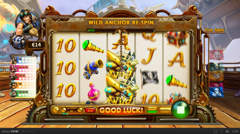 Pirate on the Edge :: Wild Anchor Re-Spin activated