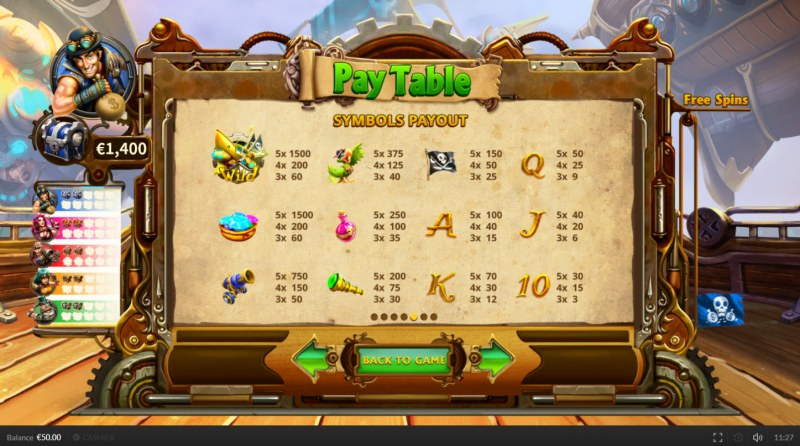 Pirate on the Edge :: Paytable