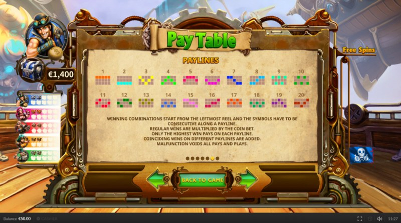 Pirate on the Edge :: Paylines 1-20