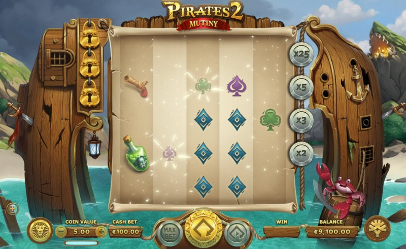 Pirates 2 Mutiny :: Winning symbols are removed from the reels and new symbols drop in place