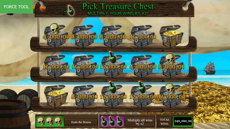 Pirates Fortune :: Bonus play ends once three skulls are revealed