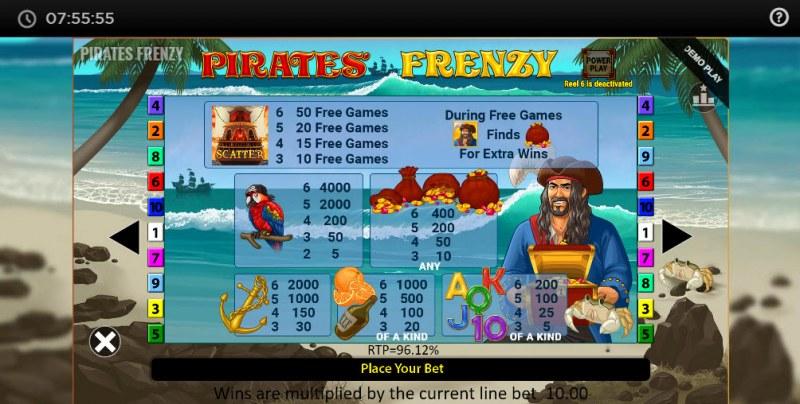 Pirates' Frenzy :: Paytable