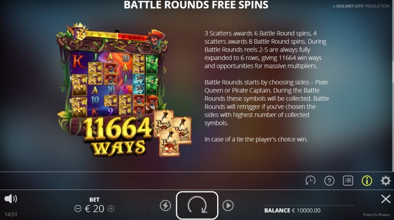 Pixies vs Pirates :: Battle Rounds Free Spins