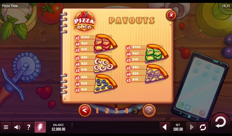Pizza Time :: Paytable - Low Value Symbols