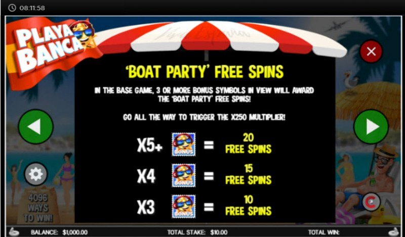 Playa Banca :: Free Spins Rules