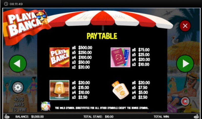 Playa Banca :: Paytable - High Value Symbols