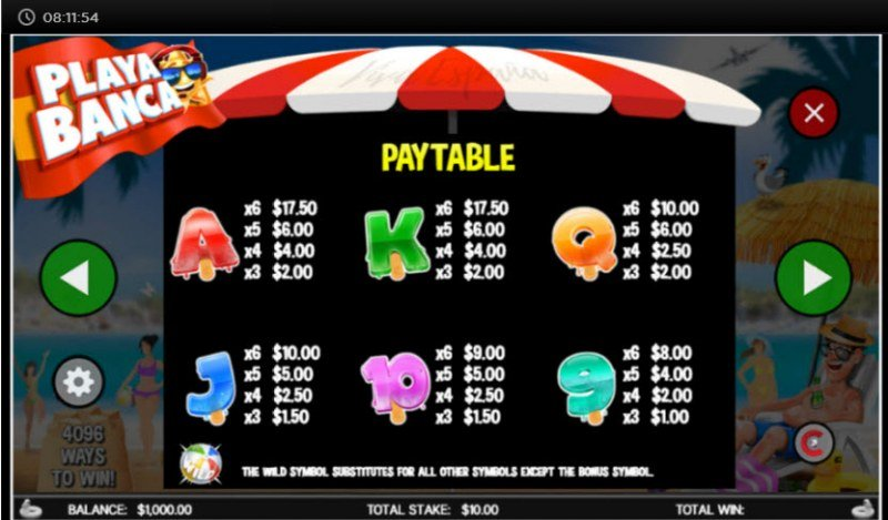 Playa Banca :: Paytable - Low Value Symbols