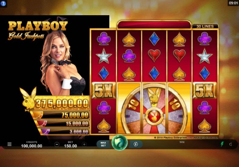 Play slots at All Jackpots: All Jackpots featuring the Video Slots Playboy Gold Jackpots with a maximum payout of $375,000