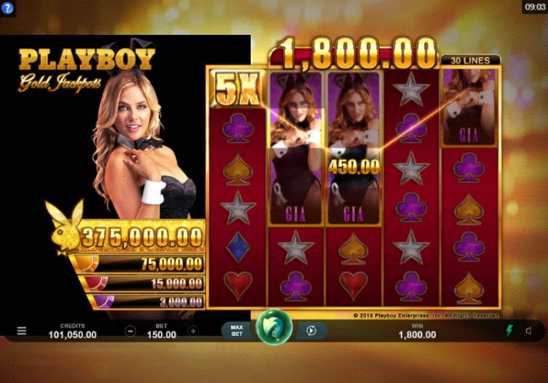Playboy Gold Jackpots :: Multiple winning paylines