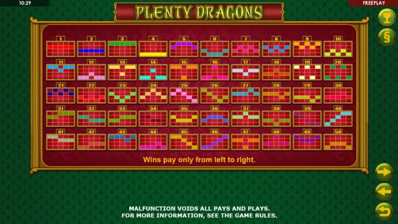 Plenty Dragons :: Paylines 1-50