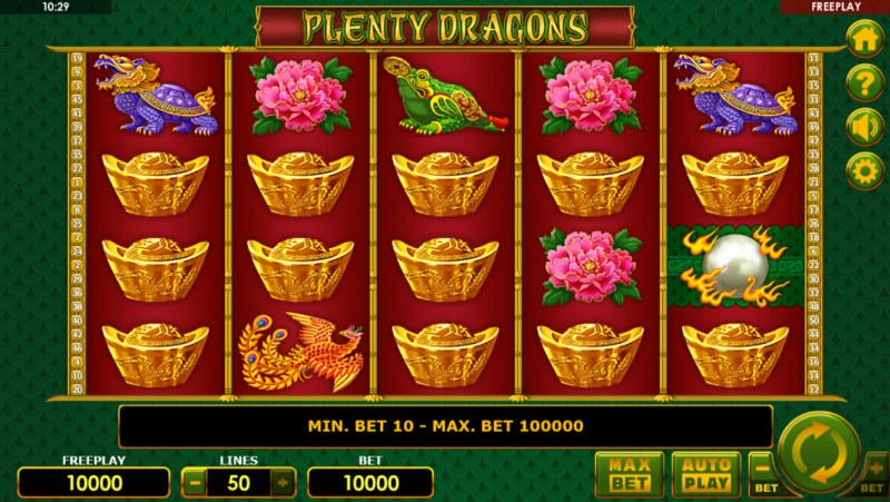 Play slots at Rich Prize: Rich Prize featuring the Video Slots Plenty Dragons with a maximum payout of $1,000,000